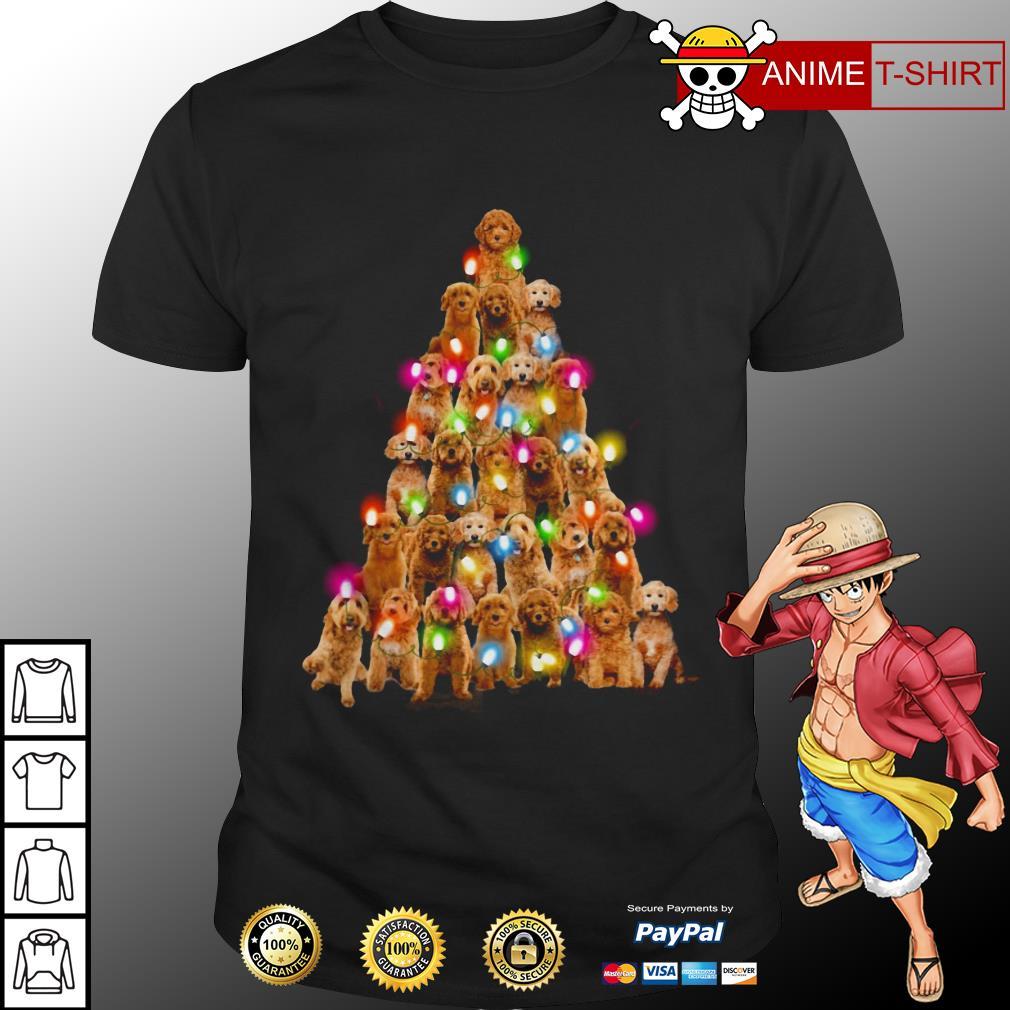 Cute Goldendoodle dog Christmas Tree shirt