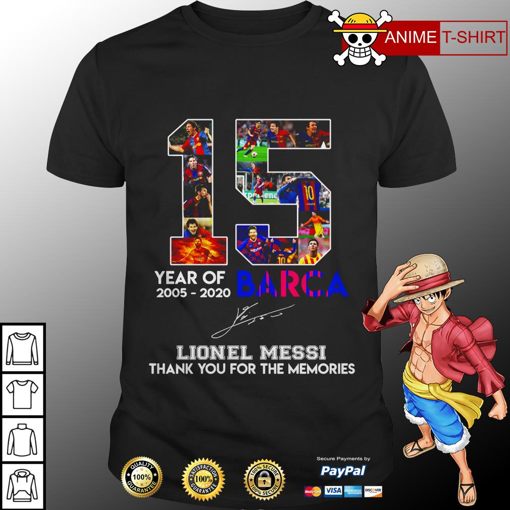 15 Years of Barca 2005-2020 Lionel Messi thank you for the memories signatures shirt