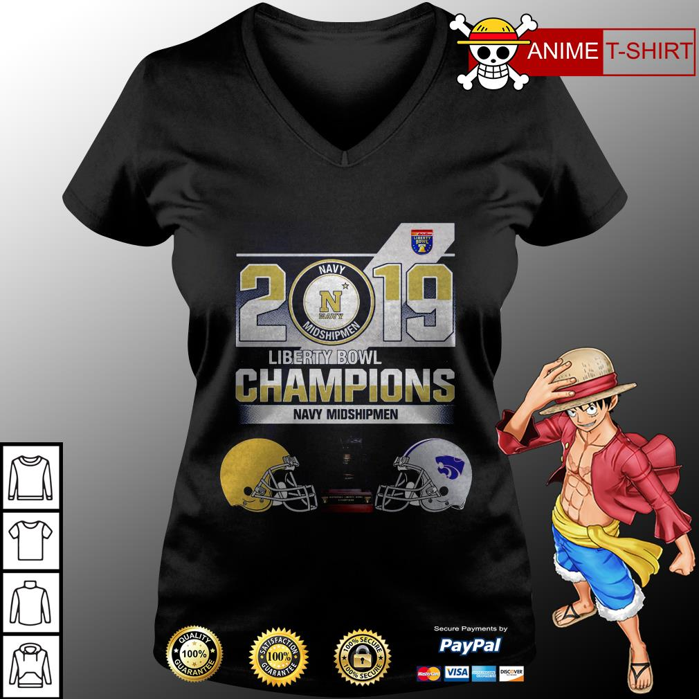 2019 Liberty Bowl Champions Navy Midshipmen v-neck t-shirt
