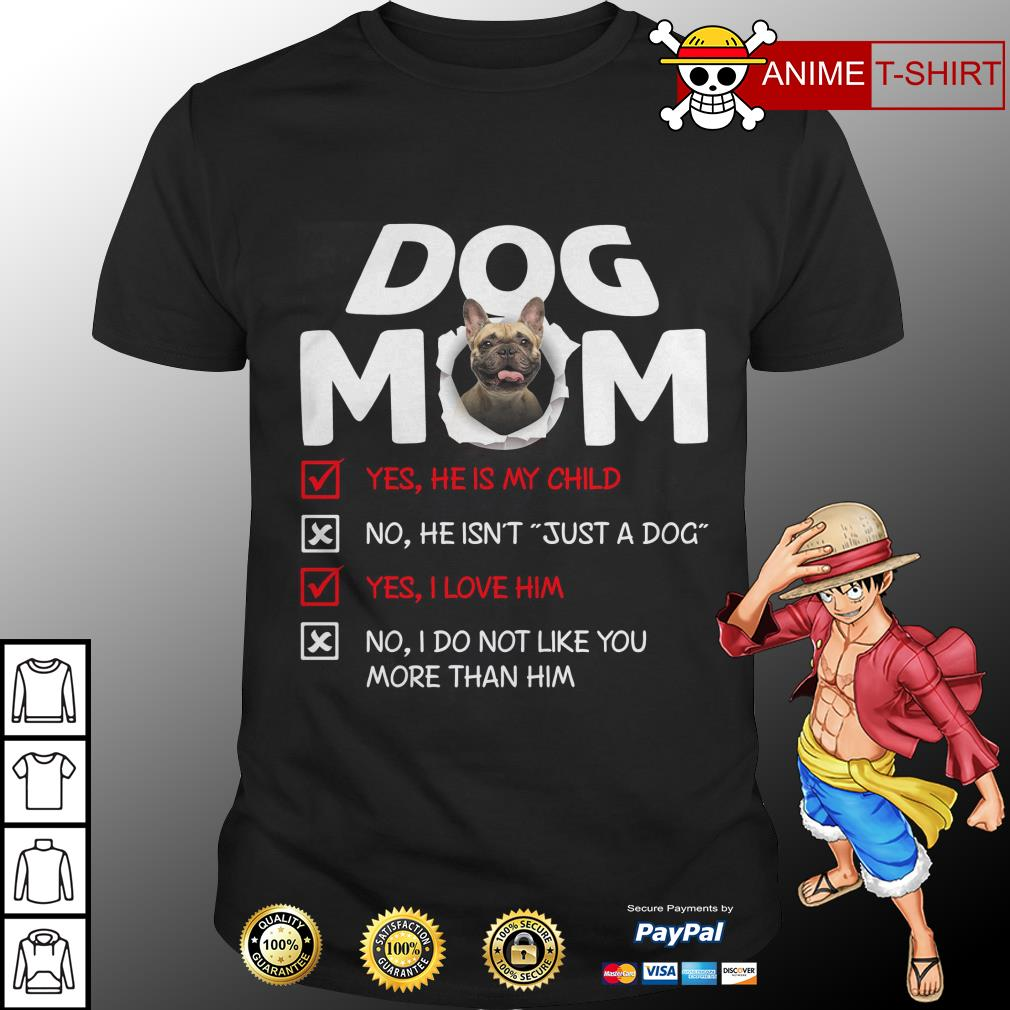 Bullmastiff Dog Mom Yes He Is My Child No He Isn't Just A Dog Shirt