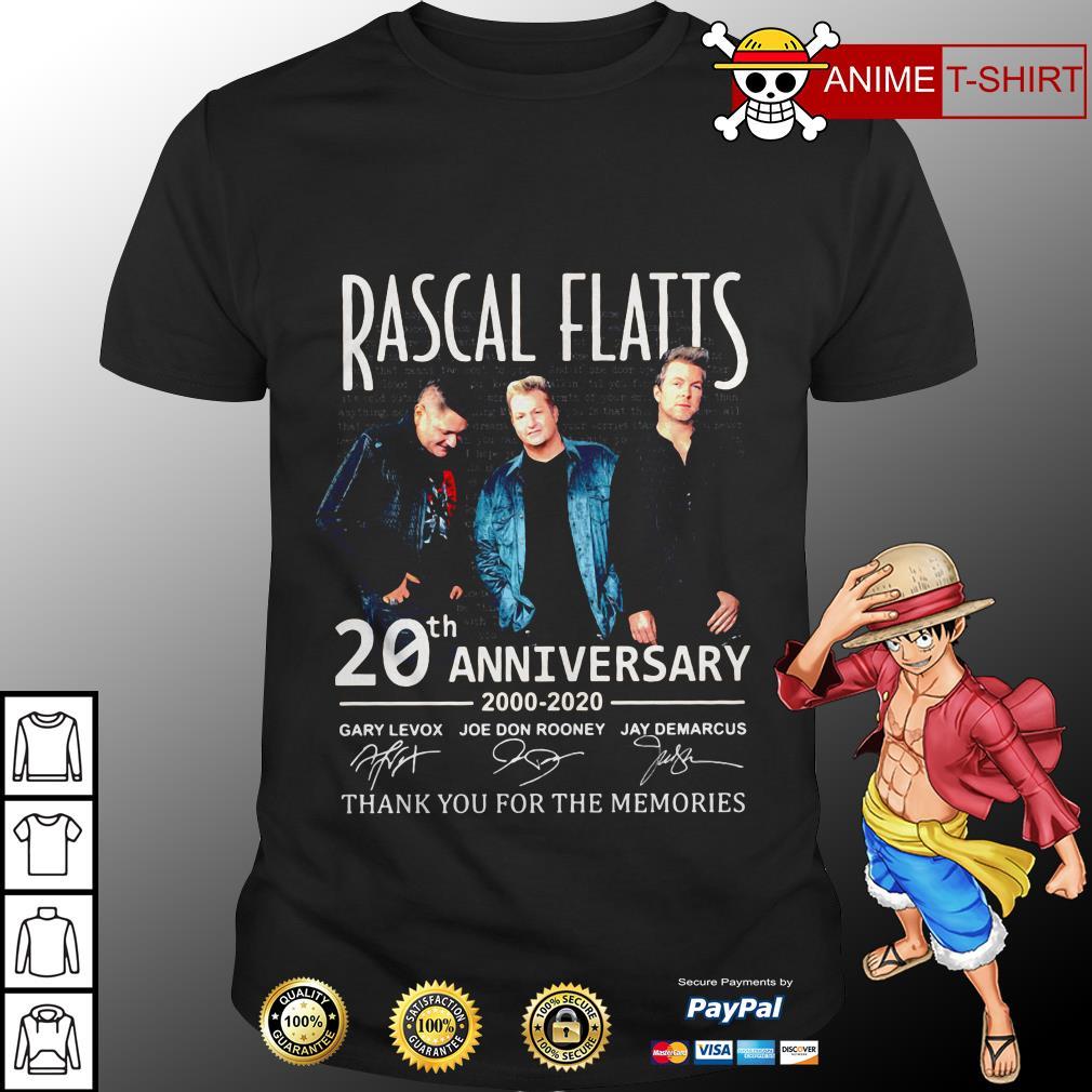 Rascal flatts 20th anniversary 2000 2020 thank you for the memories shirt