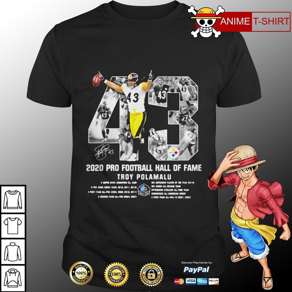 2020 pro football hall of fame troy polamalu signature shirt