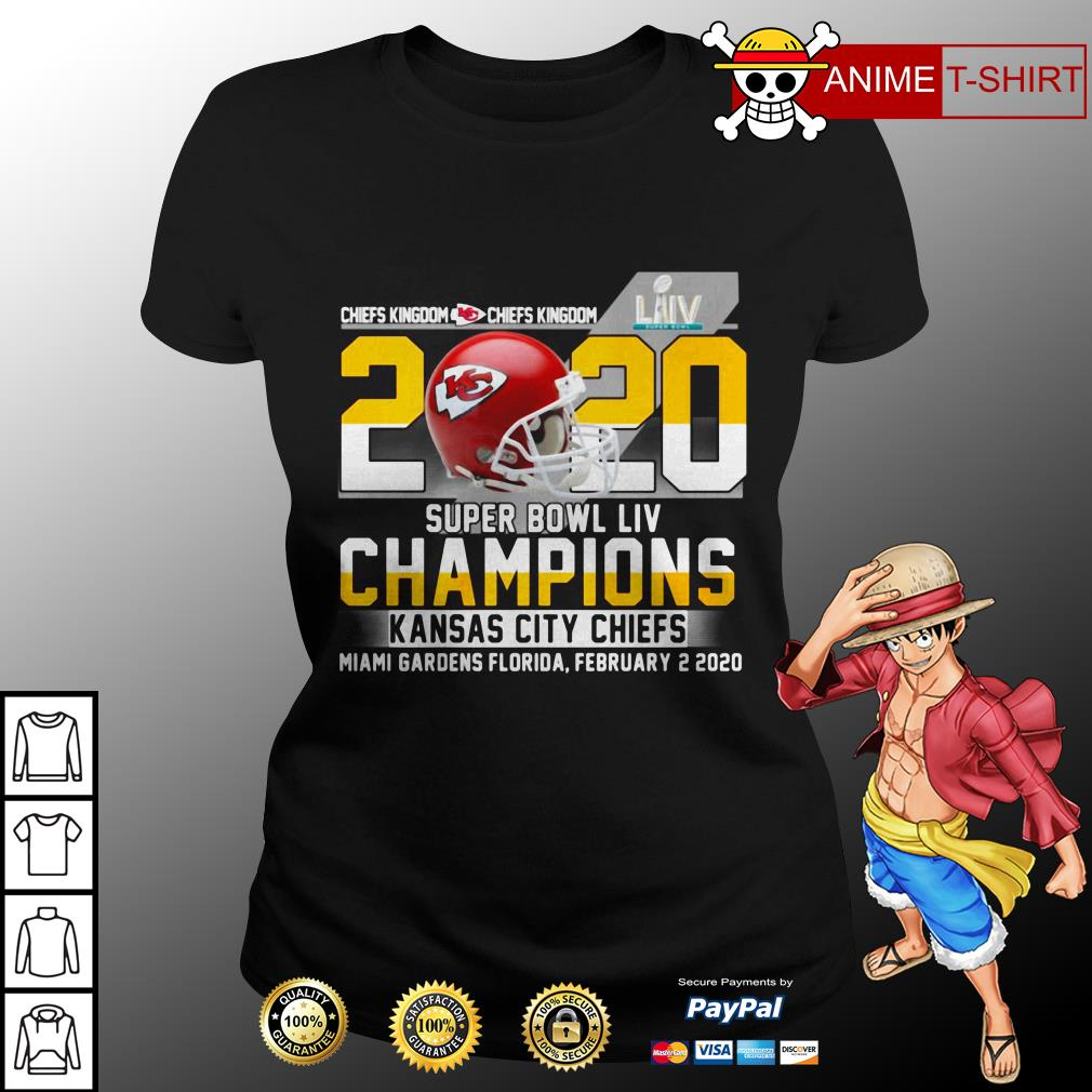 Chiefs Kingdom 2020 Super Bowl LIV Champions Kansas City Chiefs Miami Gardens Florida ladies tee