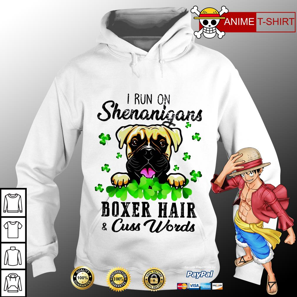 I run on shenanigans boxer hair cuss words hoodie