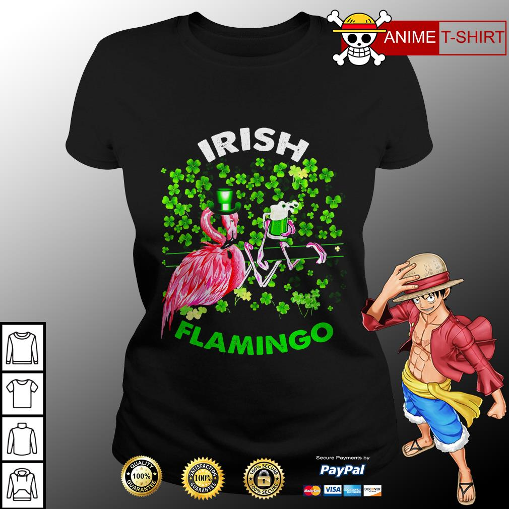 Irish flamingo Shamrock ladies tee