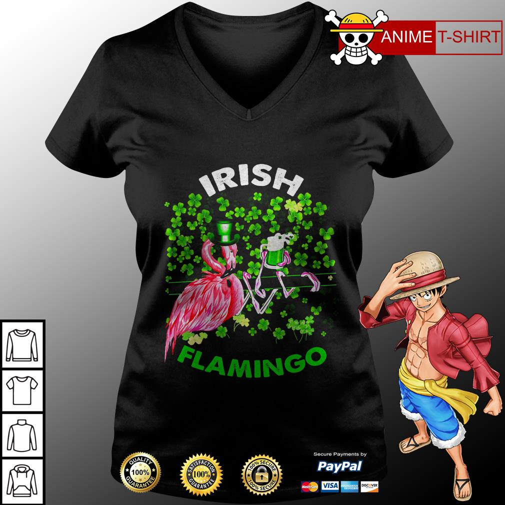 Irish flamingo Shamrock v-neck t-shirt