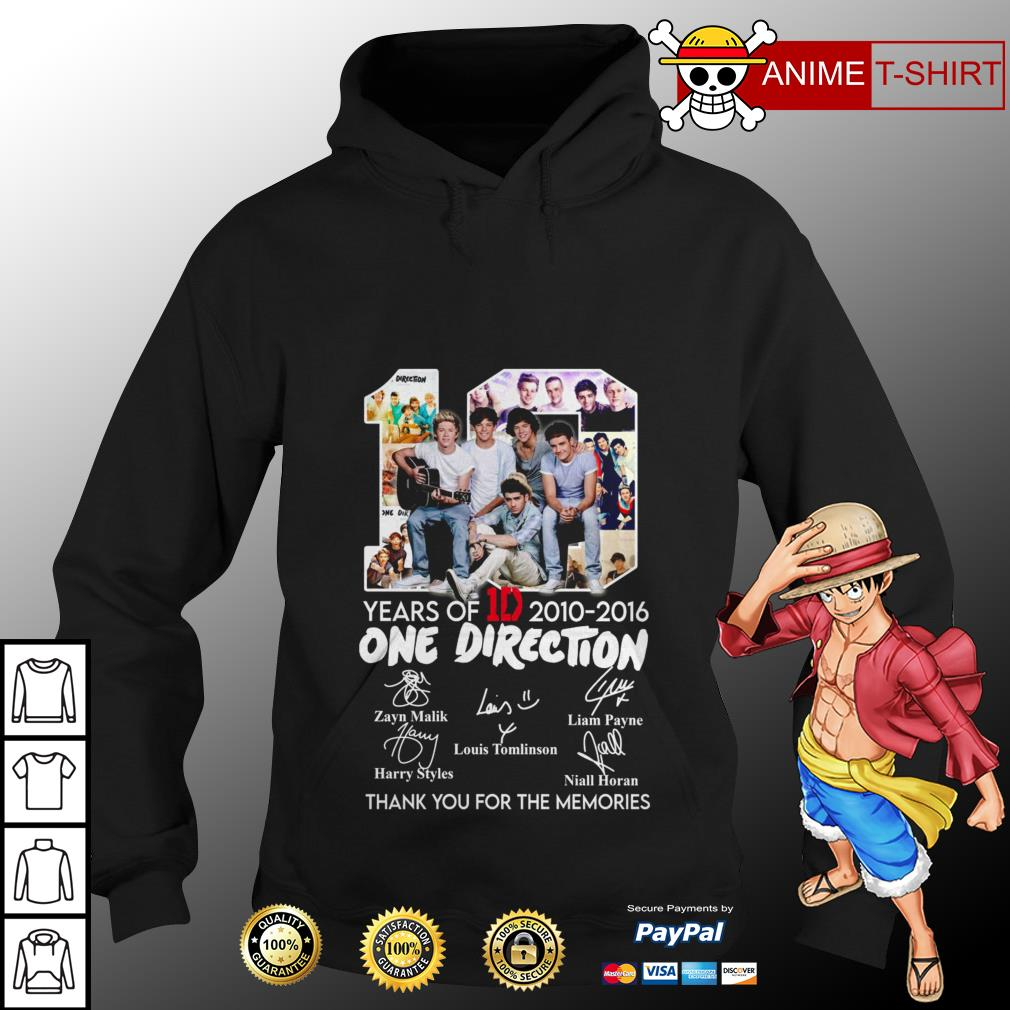 10 years of 1D 2010 2016 One Direction thank you for the memories hoodie