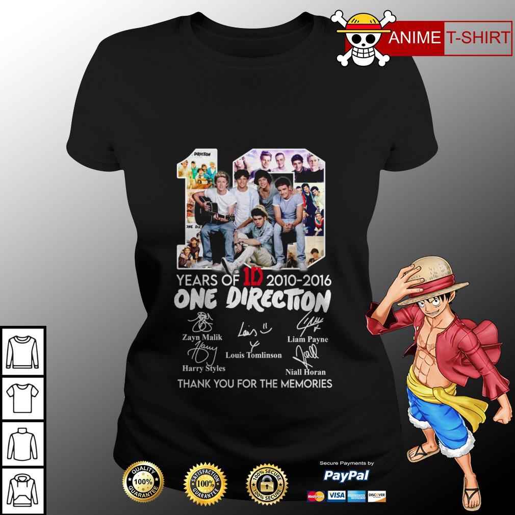 10 years of 1D 2010 2016 One Direction thank you for the memories ladies tee