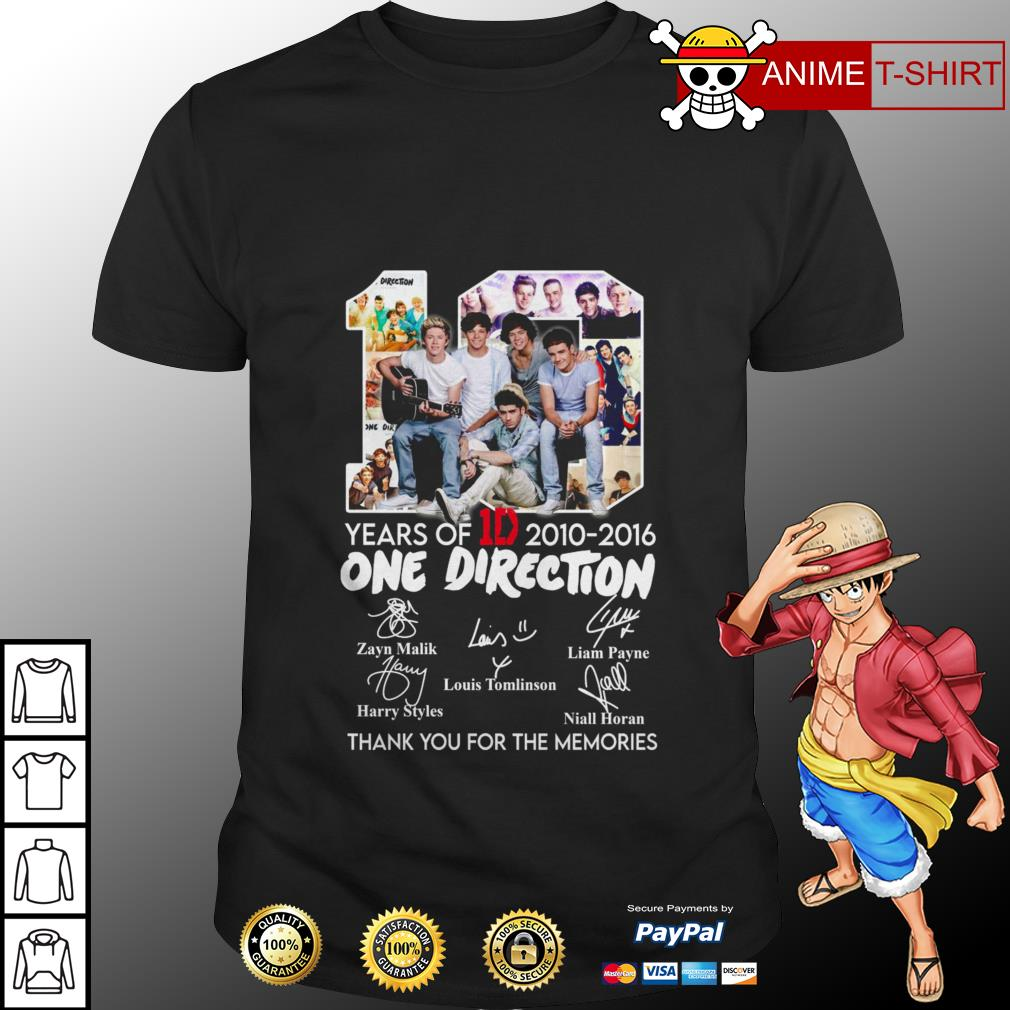 10 years of 1D 2010 2016 One Direction thank you for the memories shirt