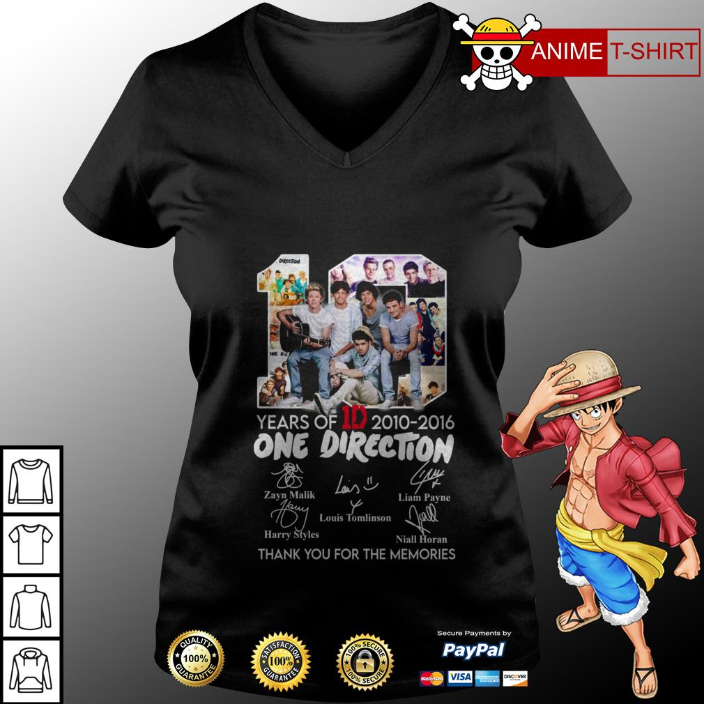 10 years of 1D 2010 2016 One Direction thank you for the memories v-neck t-shirt