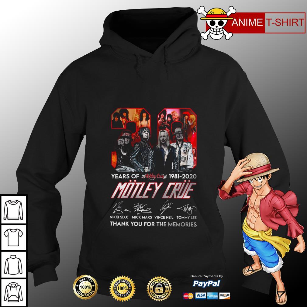 39 Motley Crue years of 1981 2020 signature hoodie