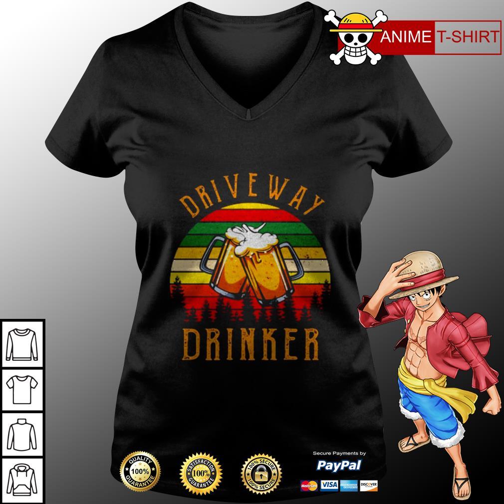 Driveway drinker beer vintage v-neck t-shirt