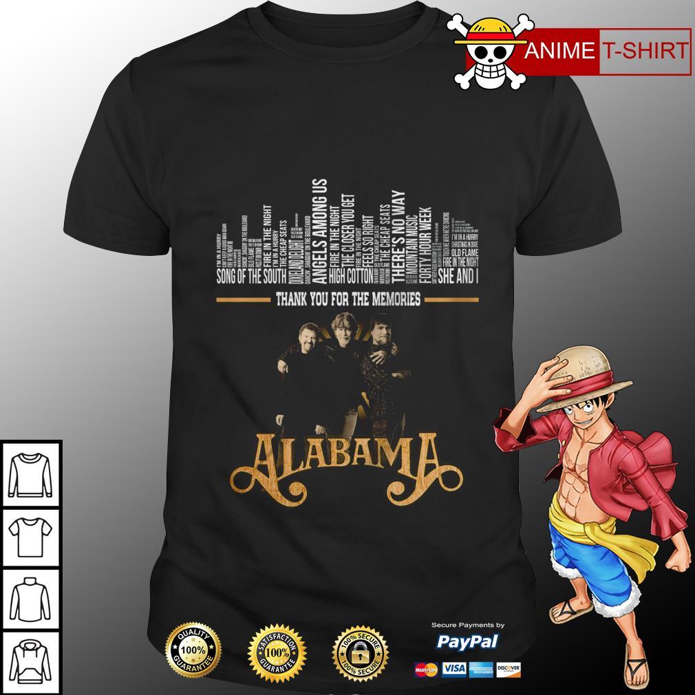 Alabama band thank you for the memories shirt