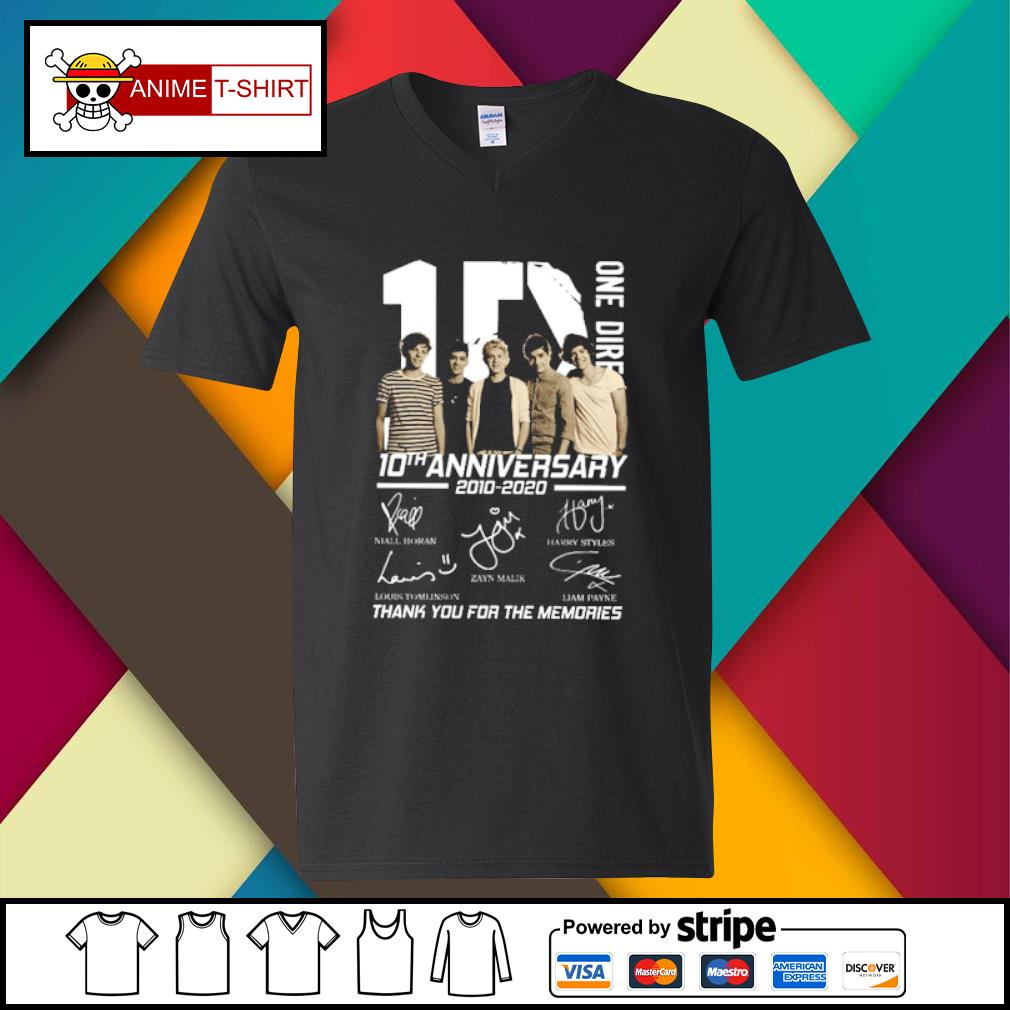 10 One Direction 10th anniversary 2010 2020 signatures s v-neck-t-shirt