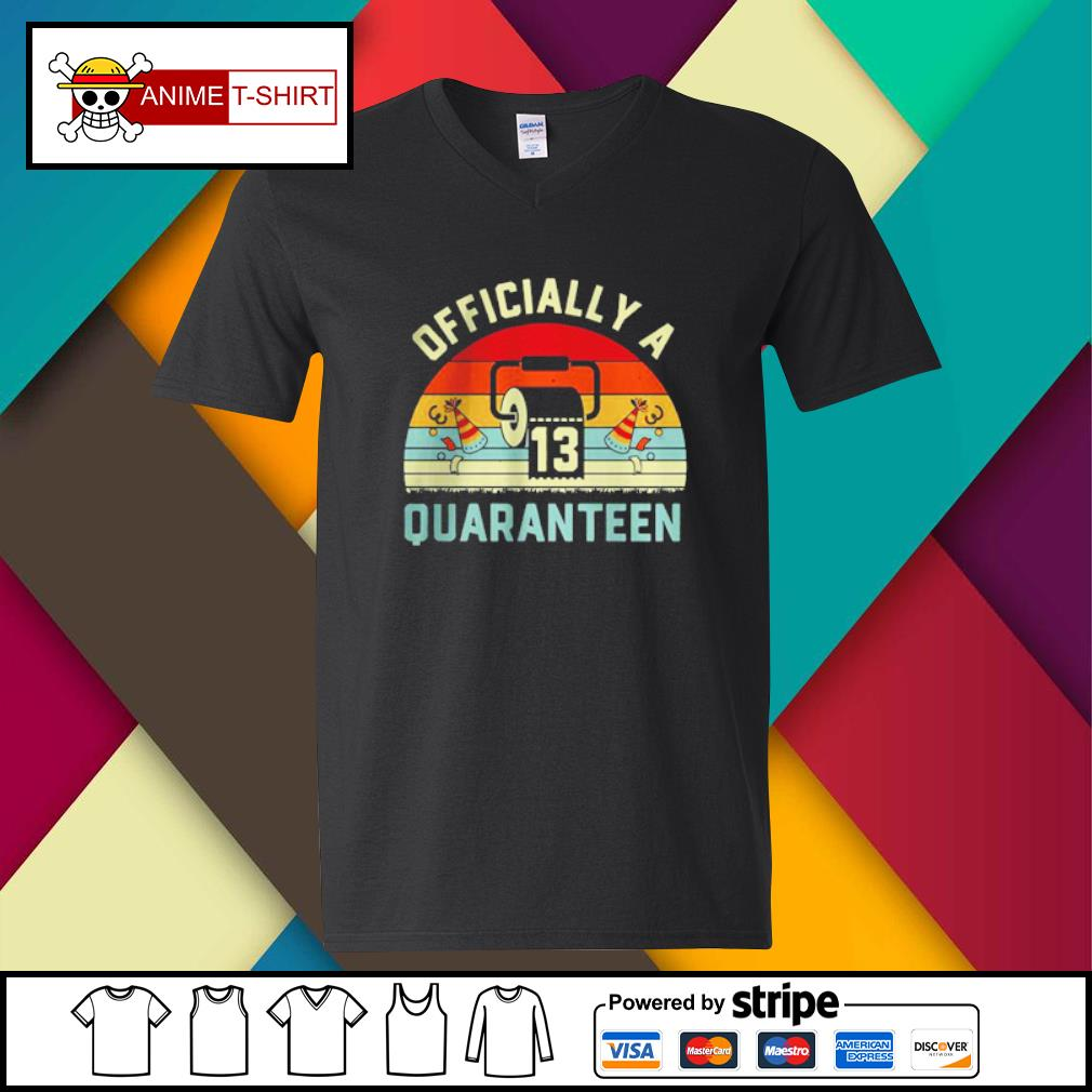 13th Birthday Officially a Quaranteennager 13 Years Old vintage Shirt v-neck-t-shirt