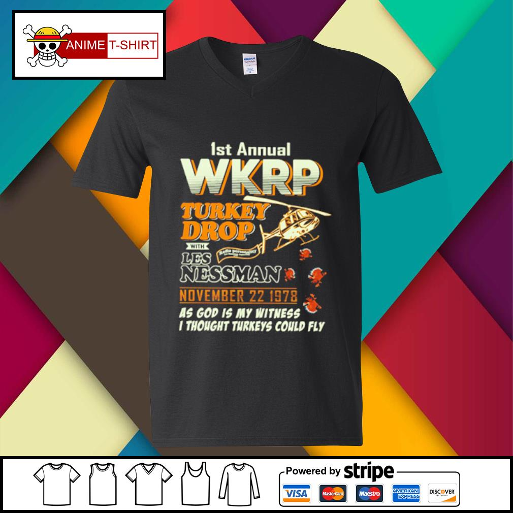 1St Annual WKRP Turkey Drop with les nessman november 22 1978 as god is my witness s v-neck-t-shirt