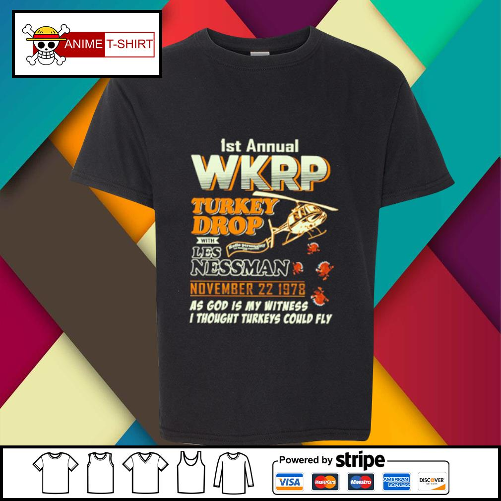 1St Annual WKRP Turkey Drop with les nessman november 22 1978 as god is my witness s youth-tee