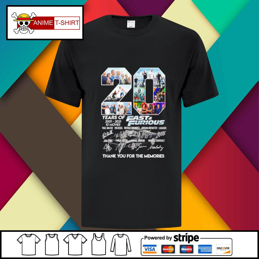 20 years of 2001 2021 10 movies Fast and furious signature shirt