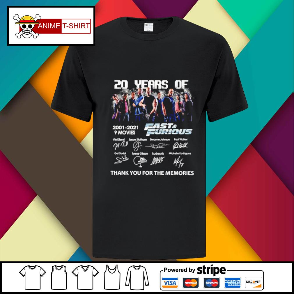 20 years of 2001 2021 9 movies Fast and Furious signature shirt