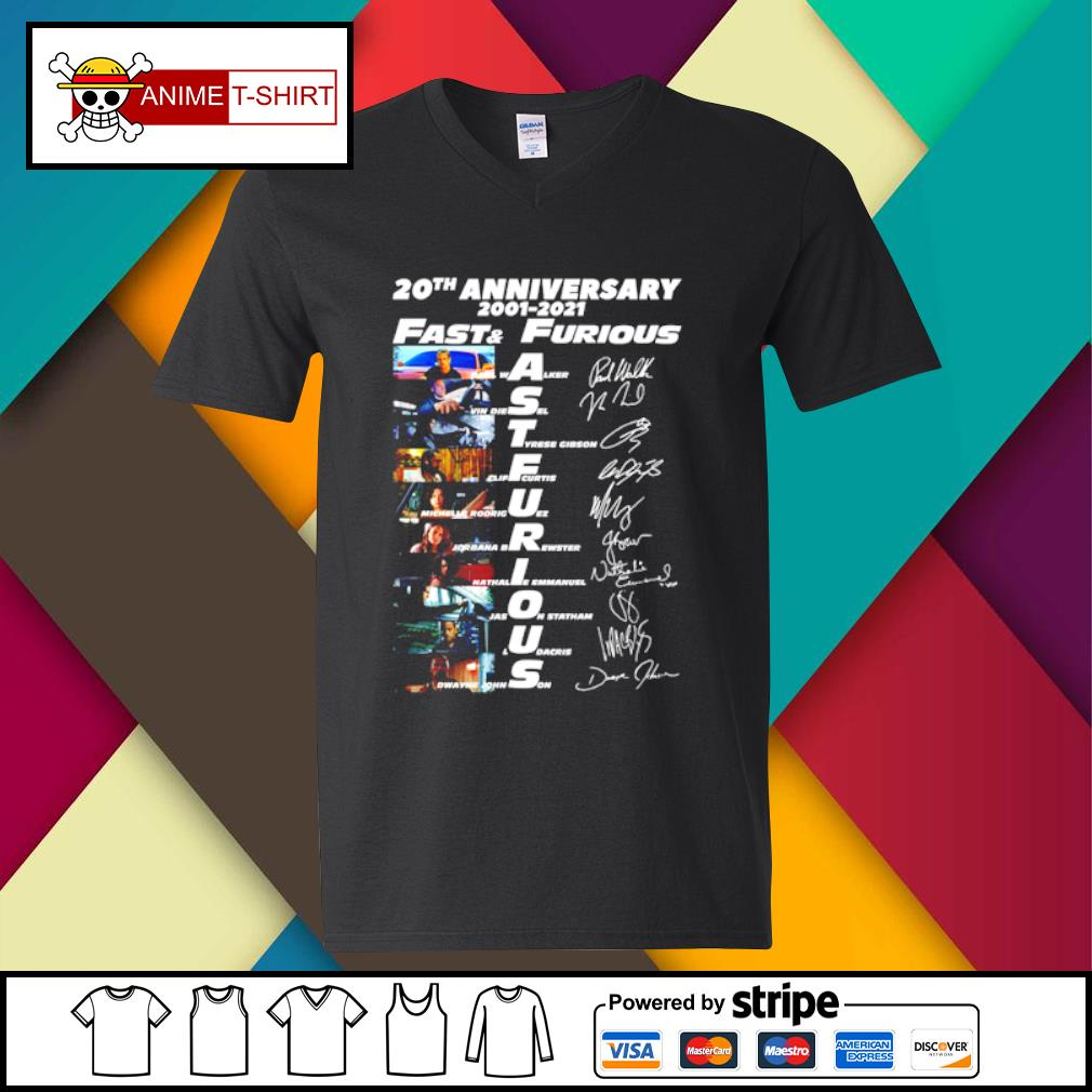 20th anniversary 2001 2021 Fast and furious signature s v-neck-t-shirt