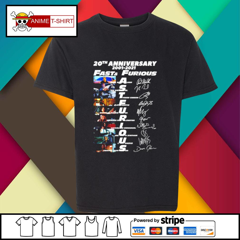 20th anniversary 2001 2021 Fast and furious signature s youth-tee