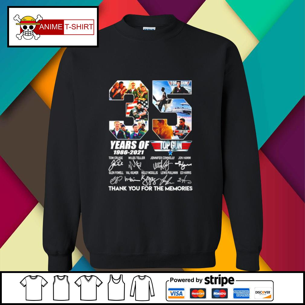 35 years of 1986 2021 Top gun thank you for the memories signature s sweater
