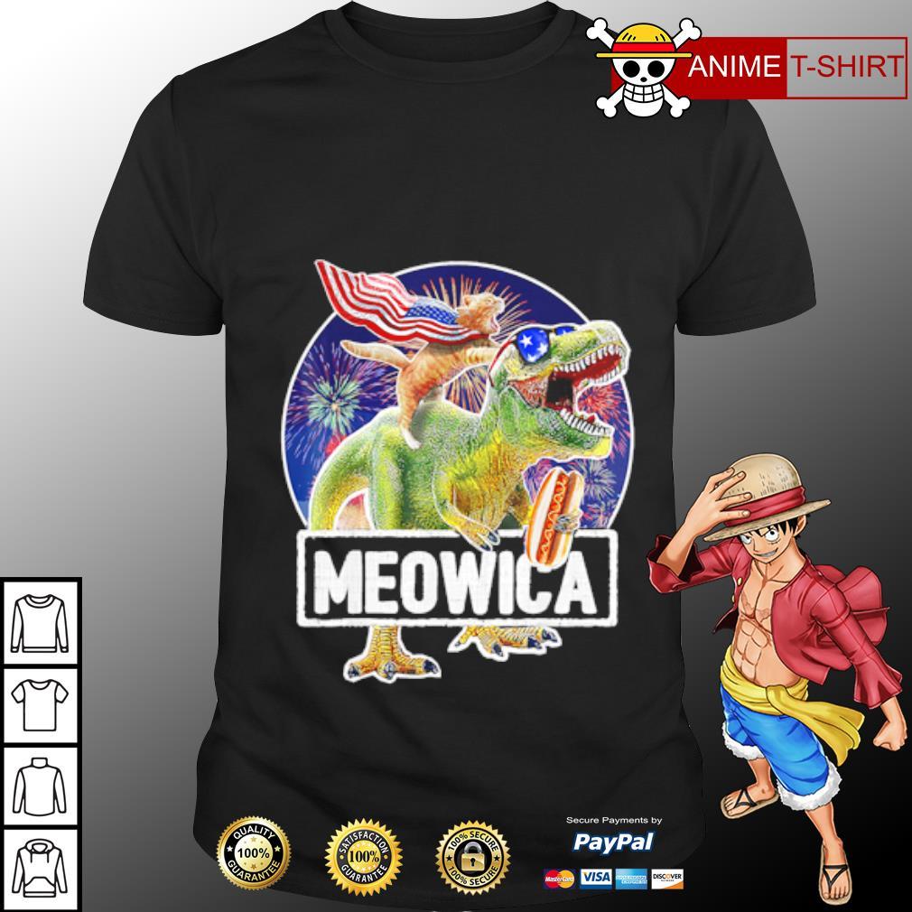 Cat Riding Dinosaur Meowica 4th of July shirt