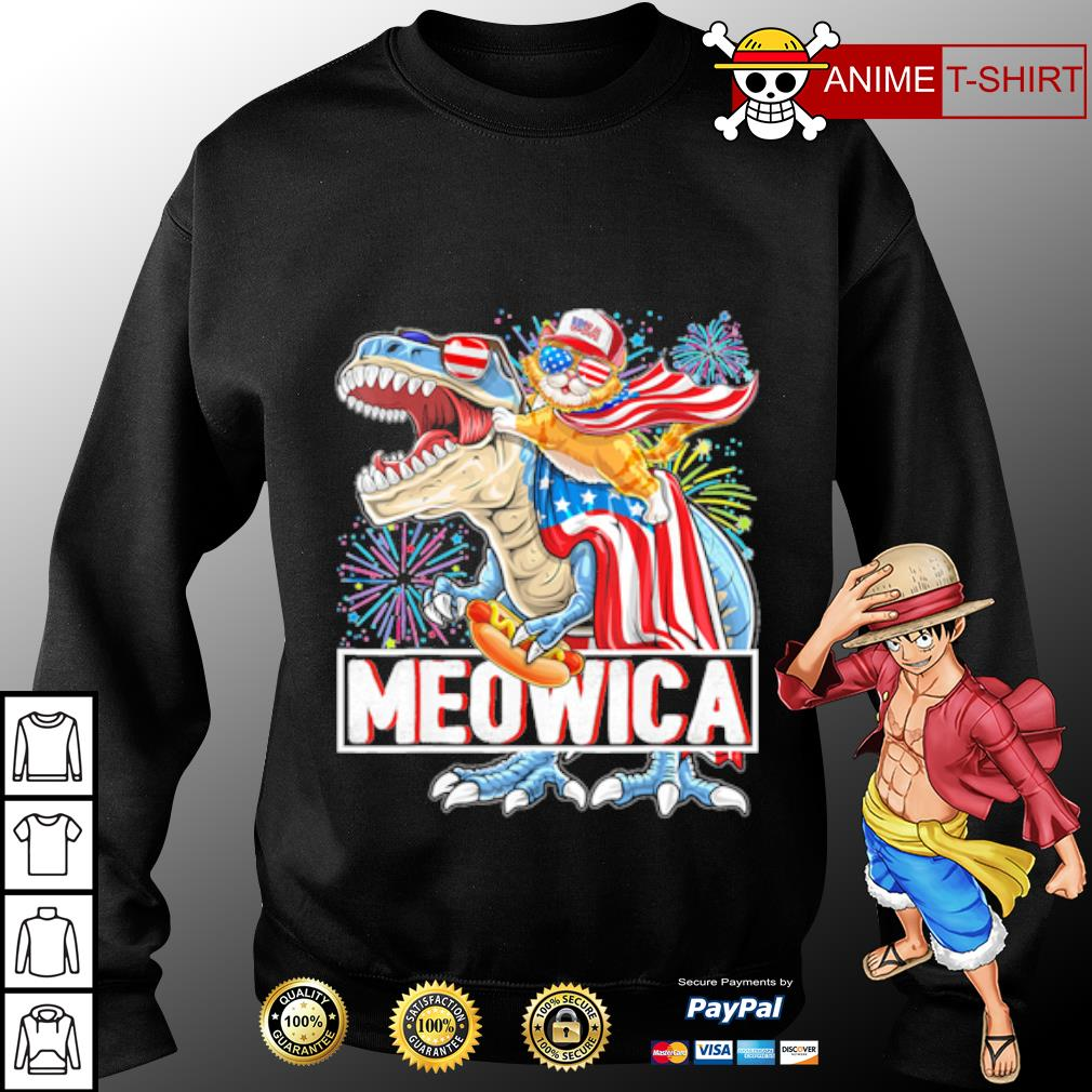 Cat Riding Dinosaur Meowica American Flag Independence Day 4th Of July s sweater