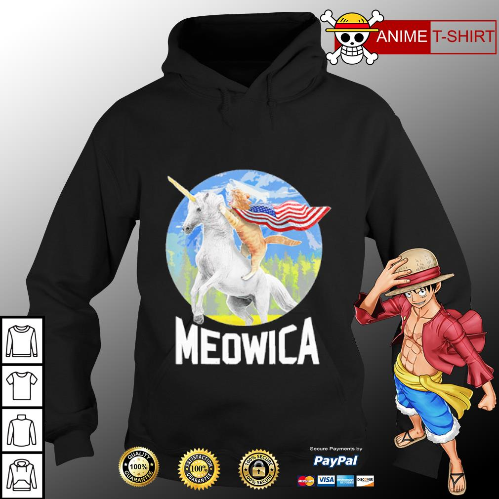Cat riding Unicorn Meowica 4th of July s hoodie
