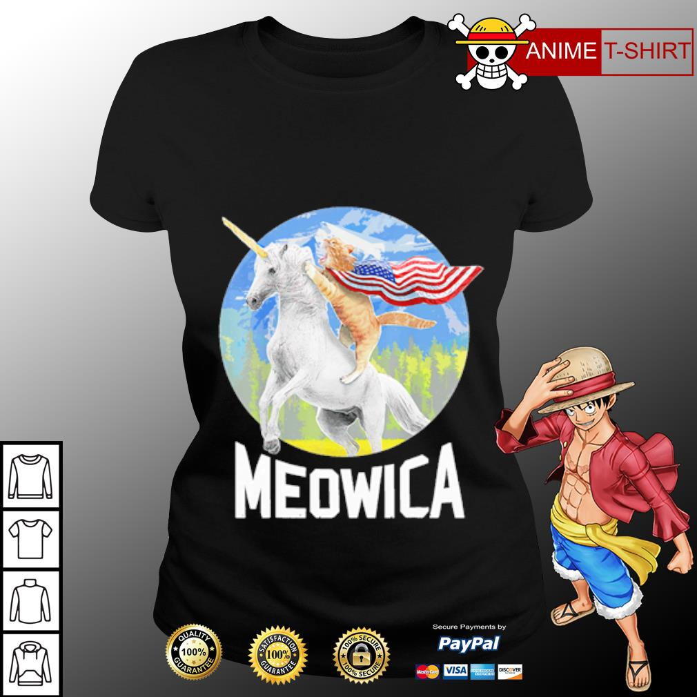 Cat riding Unicorn Meowica 4th of July s ladies-tee