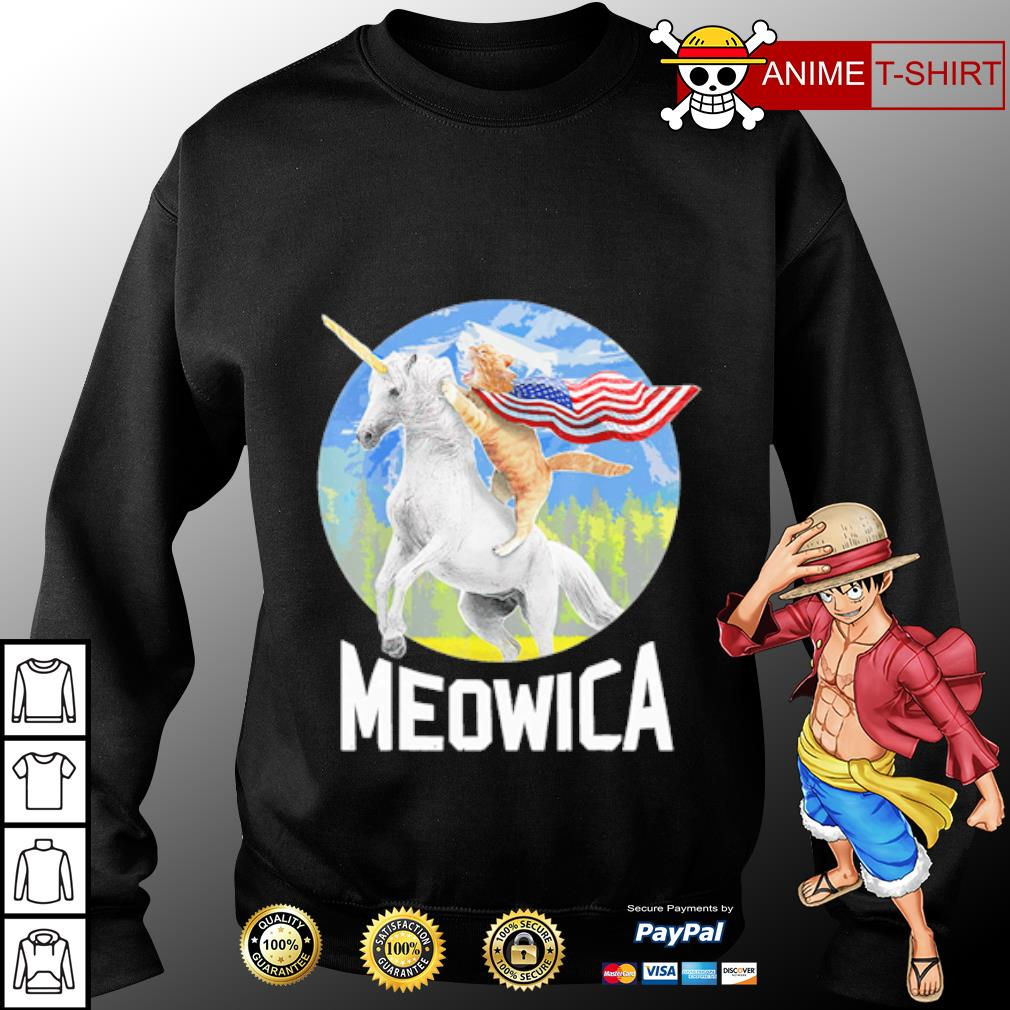 Cat riding Unicorn Meowica 4th of July s sweater