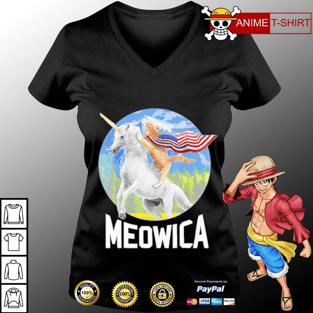 Cat riding Unicorn Meowica 4th of July s v-neck-t-shirt