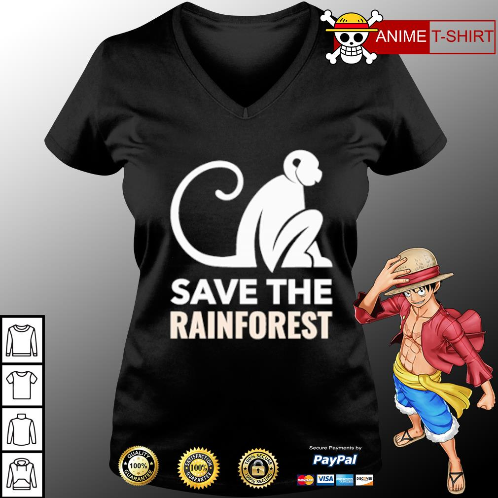 Monkey save the rainforest s v-neck-t-shirt