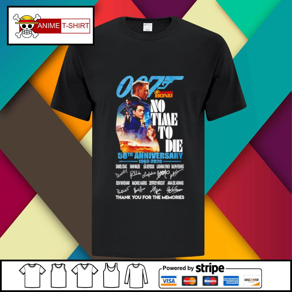 007 James bond no time to die 58th anniversary 1962 2020 signature shirt