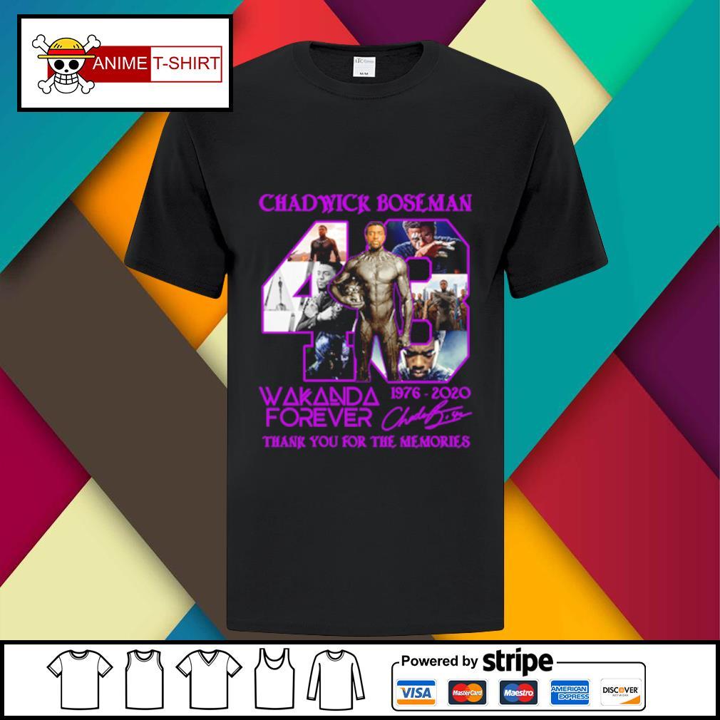 43 Chadwick Boseman Wakanda forever 1976 2020 signature shirt
