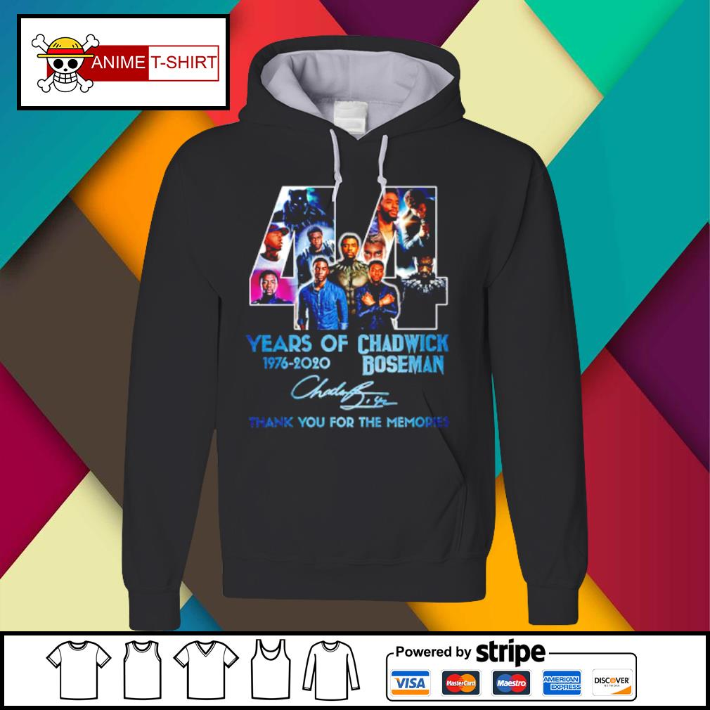 44 years of 1976 2020 Chadwick Boseman thank you for the memories signature s Hoodie