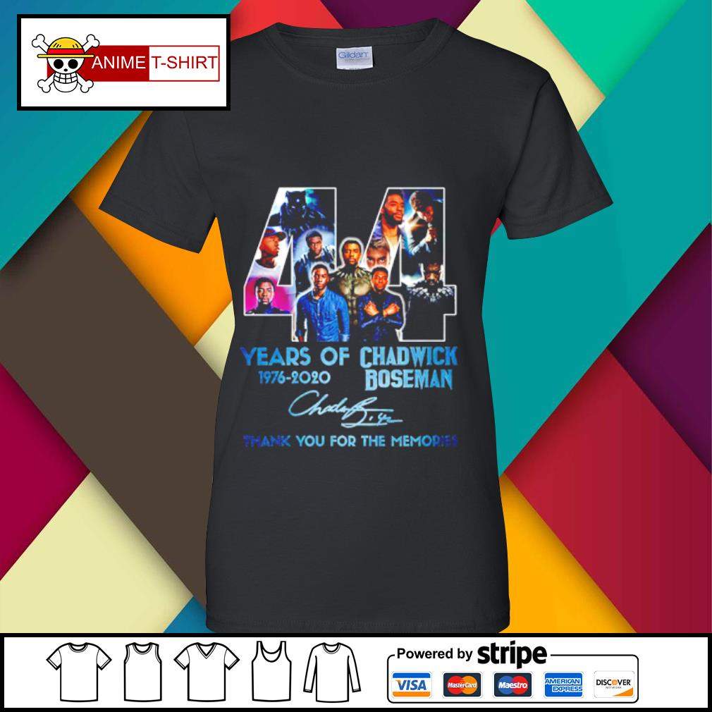 44 years of 1976 2020 Chadwick Boseman thank you for the memories signature s ladies-tee