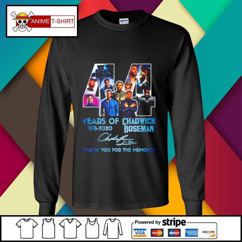 44 years of 1976 2020 Chadwick Boseman thank you for the memories signature s longsleeve-tee