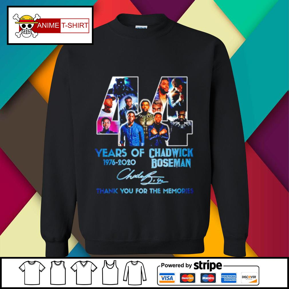 44 years of 1976 2020 Chadwick Boseman thank you for the memories signature s sweater