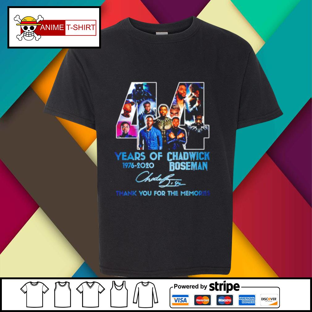 44 years of 1976 2020 Chadwick Boseman thank you for the memories signature s youth-tee