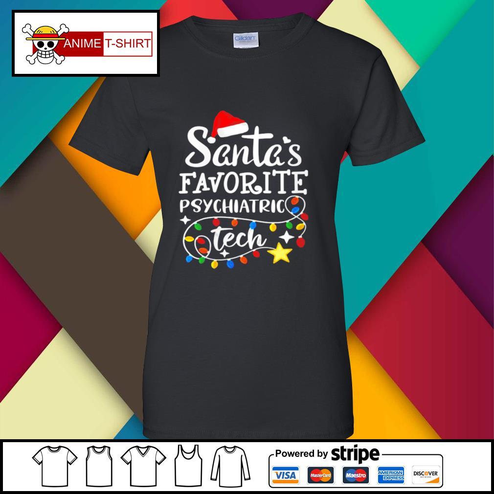 Christmastal Health Santas Favorite Psychiatric Tech s ladies-tee