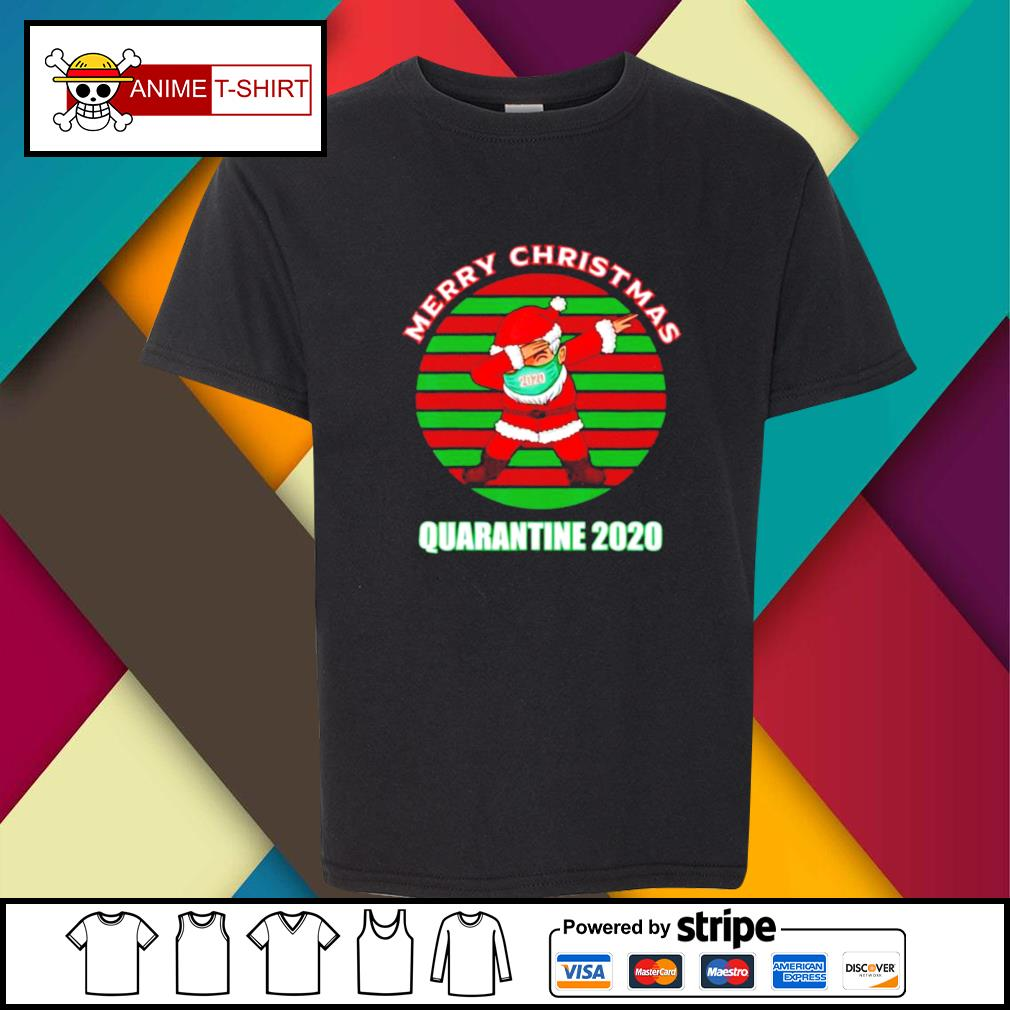 Merry christmas quarantine 2020 dabbing santa ugly vintage s youth-tee