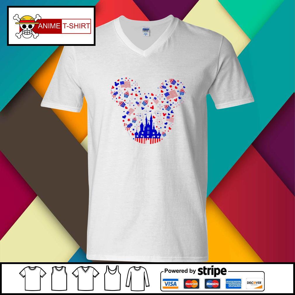 Mickey American Head 4th of July Shirt v-neck-t-shirt