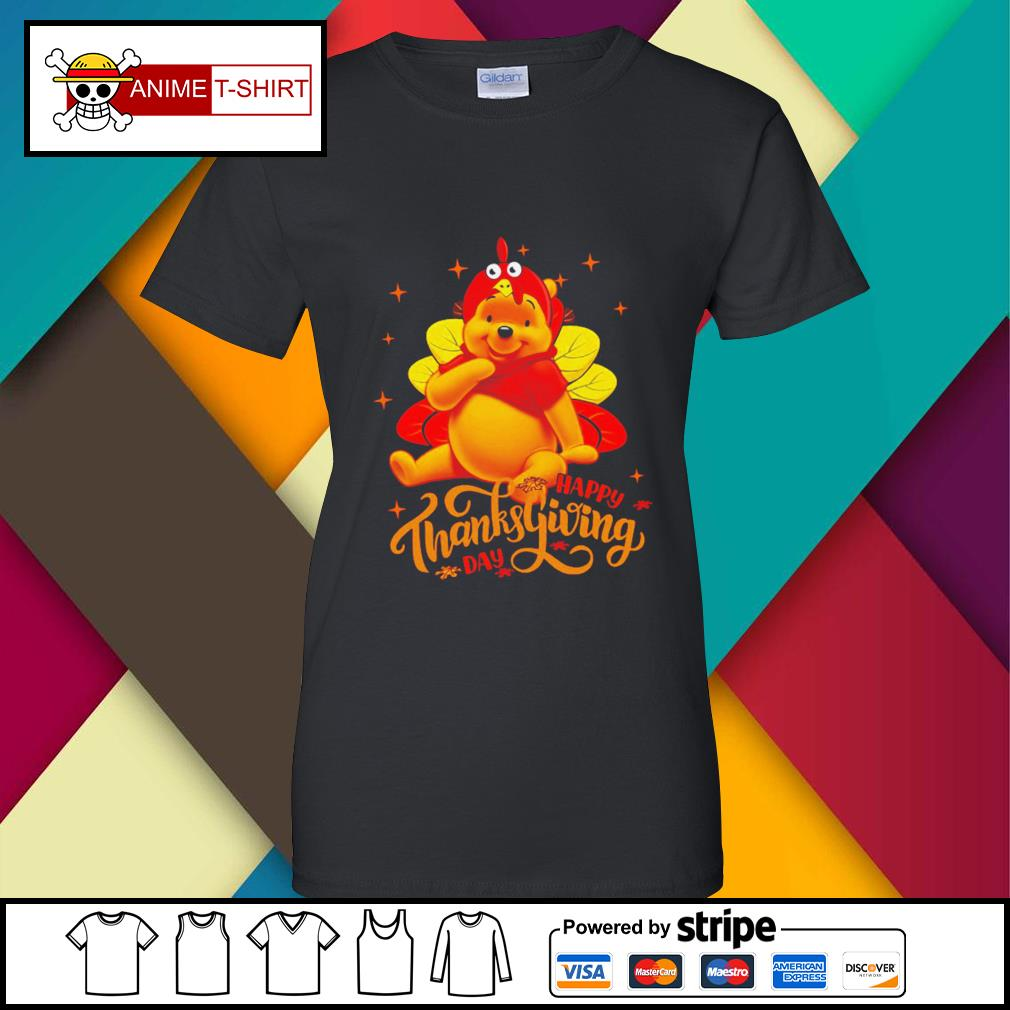 Pooh Happy Thanksgiving Day Shirt ladies-tee