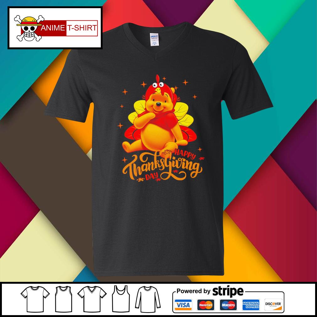 Pooh Happy Thanksgiving Day Shirt v-neck-t-shirt