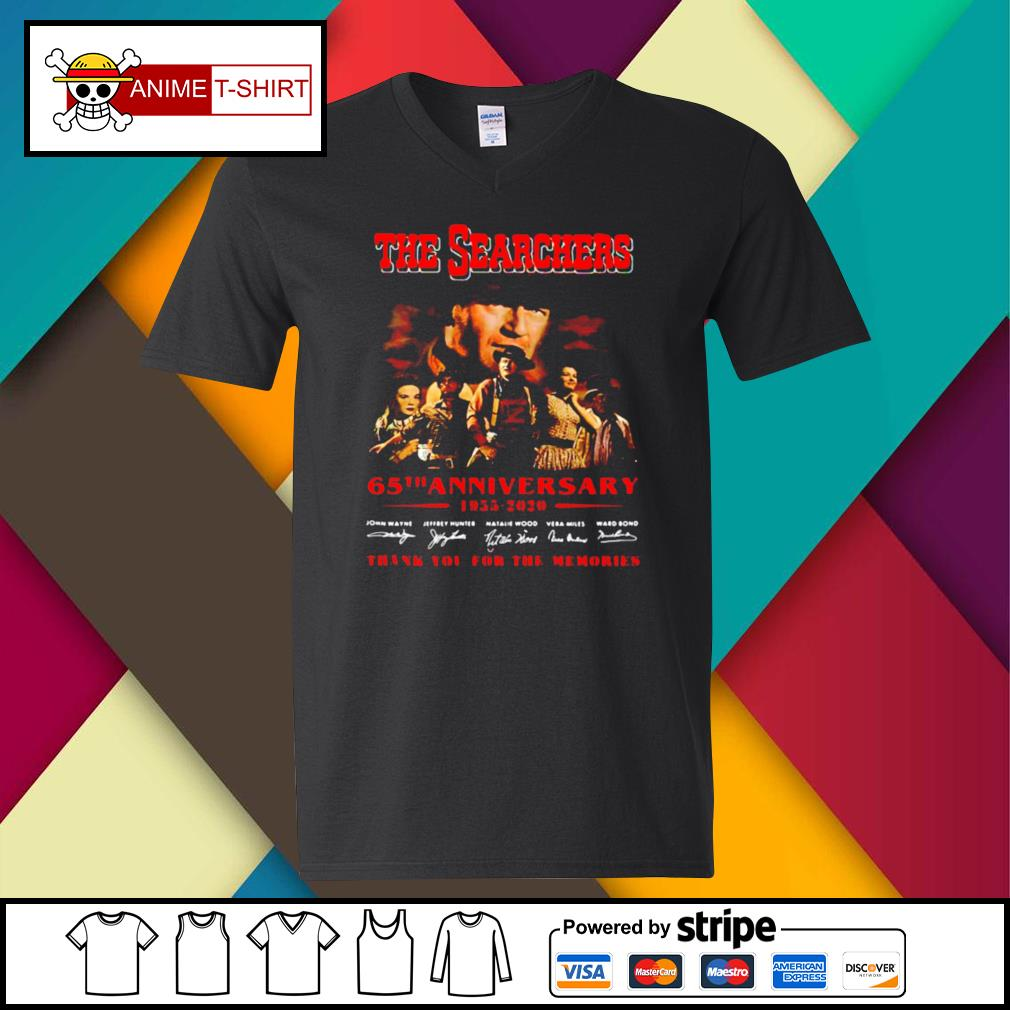 The Searchers 65th Anniversary 1955 2020 Thank You For The Memories Signatures s v-neck-t-shirt